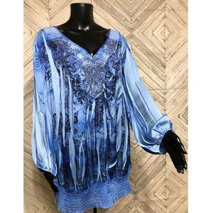 Cato 26/28 blue floral artisan tunic bishop sleeve